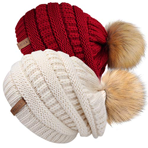 Womens Winter Knit Beanie Hat Skull Cap Slouchy Beanie Pom Pom Hats for Women