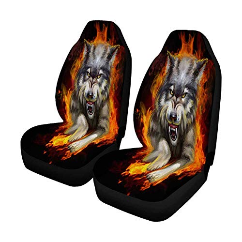 (INTERESTPRINT E115A537-Wolf Front Car Seat Covers Set of 2, Car Front Seat Cushion Fit Car, Truck, SUV or Van)