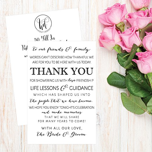 50 Wedding Thank You Place Cards, Rehearsal Dinner Thank You Table Sign, Menu Place Setting Card Notes, Placement Thank You Note Favors For Family & Guests Photo #4