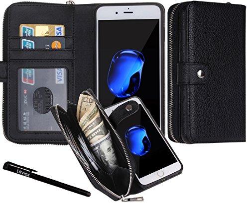 """iPhone 7 Plus / 8 Plus Hülle, Urvoix Premium Leder Zipper Geldbörse Multifunktions Handtasche Abnehmbare Magnetgehäuse mit Flip Card Halter Abdeckung für iPhone 7 Plus / 8 Plus (5,5 """")"""