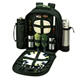 Picnic at Ascot - Deluxe Equipped 2 Person Picnic Backpack with Coffee Service, Cooler & Insulated Wine Holder - Forest Green