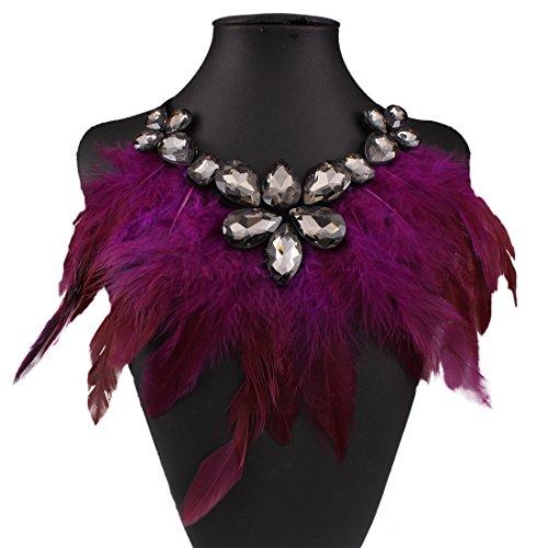 Zehui Teardrop Crystal Feather Bib Pendant Ribbon Chain Women Fancy Party Necklace Purple (Necklace Drop Bib)