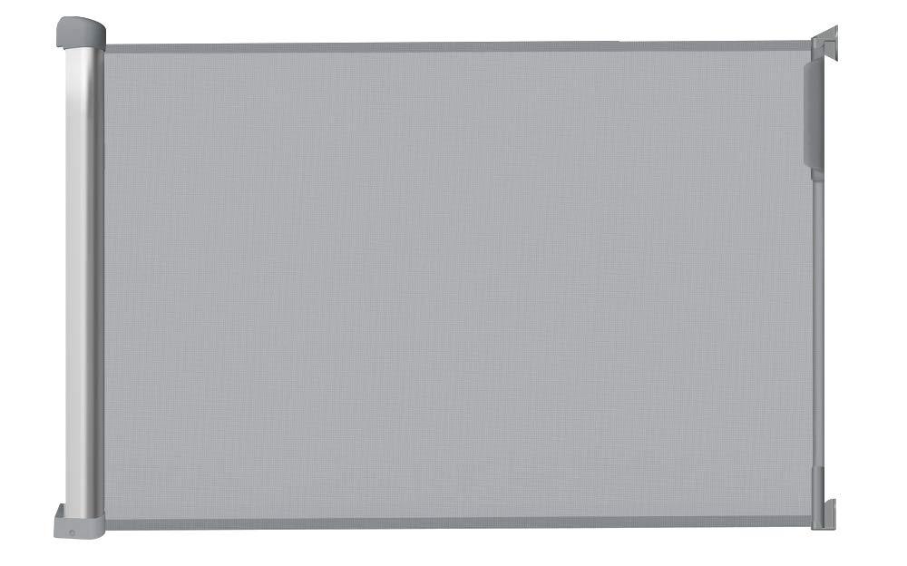Farbe: Grau Einhand-/Öffnungsmechanismus Treppenschutzgitter Callowesse/® DELUXE Aluminium Ausziehbar /& Einrollbar Sch/ützgitter 0-110cm T/ürschutzgitter Hundeschutzgitter und Baby Absperrgitter