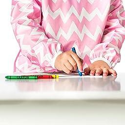 Bumkins Waterproof Long Sleeved Art Smock, Pink Chevron (3-5 Years)
