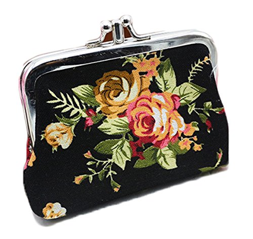 (iSuperb Coin Pouch Purse Cute Double-layer Rose Pattern Canvas Gift Jewelry Cards Trinkets Pouch Clasp Closure Wallet (Black))