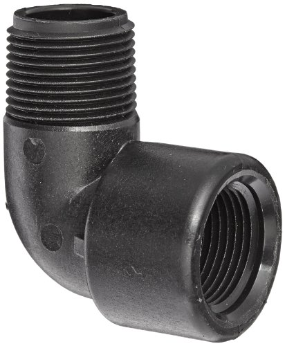 "Banjo SL100-90 Polypropylene Pipe Fitting, 90 Degree Street Elbow, Schedule 80, 1"" NPT Female x NPT Male"