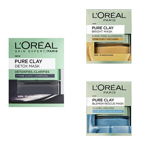 L'Oreal Paris Skincare Detox Mask + Bright Mask + Blemish Rescue Mask Post Night Out Multi-Masking Bundle 3 x 50ml
