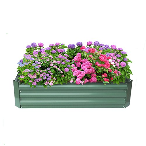 Babylon Patio Garden Flower Planter, Raised Bed, Elevated Garden Planter Box For Growing Herbs, Vegetables, Flowers,Powder-coated Metal,Green, 47.2'' L x 35.4'' W x 11.8'' H by Babylon