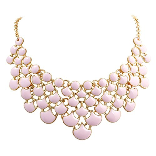 Jane Stone Best Selling Newest Fashion Necklace Magnetic Scaly Pink Jewelery Vintage Openwork Bib Statement Fall Wedding Necklace(Fn0968-Pink)