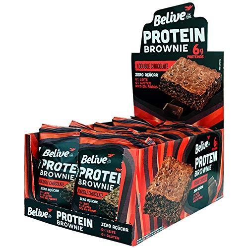 Protein Brownie Double Chocolate Sem Açúcar Belive Display com 10 unidades de 40g