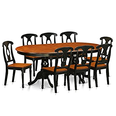 9 PC Dining room set-Dining Table with 8 Wood Dining Chairs - This 9 piece dining set Includes dining table and 8 wood seat dining room chairs finished in Black and Cherry This Oval dining table features an integrated 18 inch self storage Butterfly Leaf that can easily be stored right under the table top 100% solid wood from table top to table legs. No heat treated pressured wood like MDF, particle board or verneer top fabricated - kitchen-dining-room-furniture, kitchen-dining-room, dining-sets - 51L1CxKNJfL. SS400  -