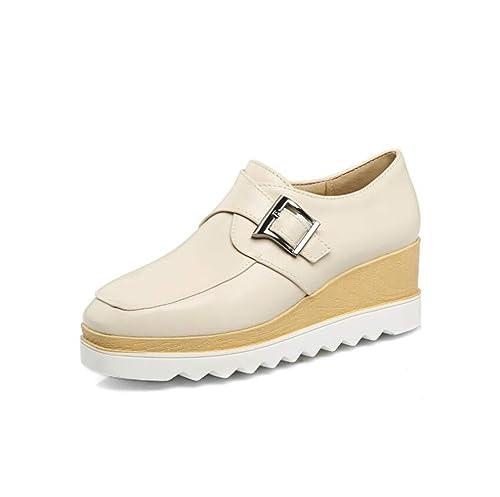 mogeek Mocasines Plataforma Mujer Casual Loafers Primavera Otoño Zapatos de Cuña 5.5 cm: Amazon.es: Zapatos y complementos