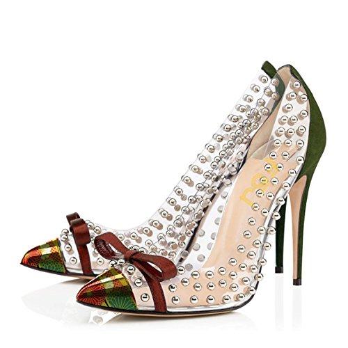 Size for 15 Fashion Heels Sphere US FSJ Women Shoes Dress Olive 4 Stiletto Pumps Transparent Ornament PHxqg
