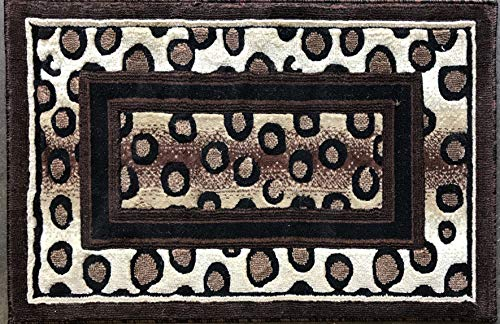 - emirates Animal Skin Leopard Print Door Mat Rug Black Brown Design 505 (2 Feet X 3 Feet)