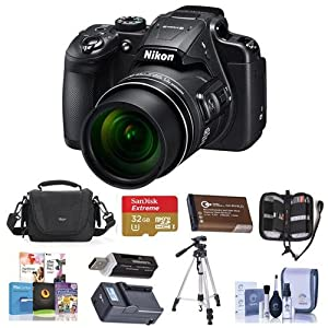 Nikon Coolpix B700 Digital Point & Shoot Camera, Black - Bundle With 32GB SDHC Card, Spare Battery, Camera Bag, Tripod, Memory Wallet, Card Reader, Quick Charger, Cleaning Kit, Software Package