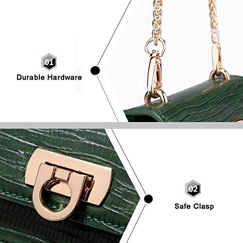 Flap Tiny Tracolla Le Crossbody Vintage Della Di Per Color Elegante A Ragazze Shoulder Nero Yoome Lucertola Borsa Bag Chain Pure qxv1fTwn