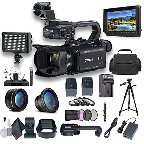 Canon XA15 Compact Full HD Camcorder with SDI, HDMI, and Composite Output Professional Bundle. Includes Extra Battery, Case, LED Light, External Monitor, Mic, Tripod and More