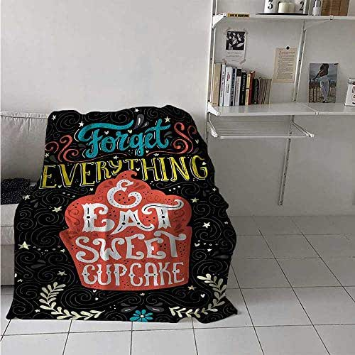 maisi Quote Super Soft Lightweight Blanket Forget Everything and Eat Sweet Cupcake Phrase with Doodle Floral Ornaments Print Oversized Travel Throw Cover Blanket 70x50 Inch Multicolor