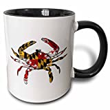 3dRose 193242_4 Maryland Crab Flag Two Tone Mug, 11 oz, Black