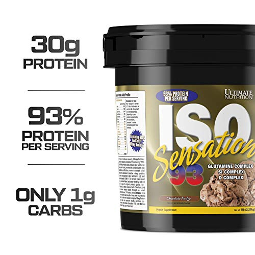 Ultimate Nutrition ISO Sensation 93 100% Whey Protein Isolate Powder with 30 Grams of Protein - Low Carb, Keto Friendly, Chocolate Fudge, 5 Pounds ()