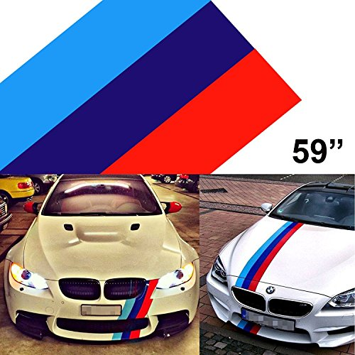 1 x 59 M-Colored Stripe Car Sticker For BMW Exterior Cosmetic, Hood, Roof, Bumpers
