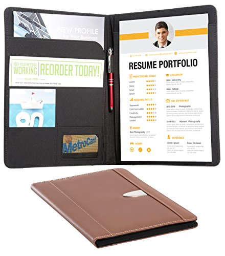 Resume Portfolio Padfolio Genuine Bonded Leather Portfolio with Replaceable A4 Letter Size Writing Pad, Document Holder, Card Holder and Pen Holder by eFolio, Brown