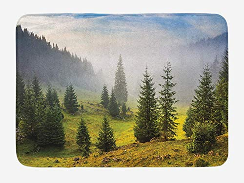 Forest Bath Mat, Fir Trees on Meadow Between Hillsides with Conifer Forest in Fog Before Sunrise, Plush Bathroom Decor Mat with Non Slip Backing, 23.6 W X 15.7 W Inches, White Green