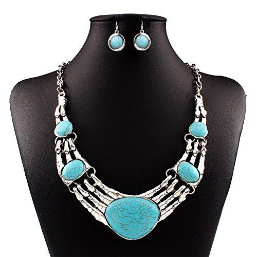 Jasmine Costume Pattern (Gprince European Retro Vintage Pattern Oval Turquoise Necklace Earrings Jewelry Set)