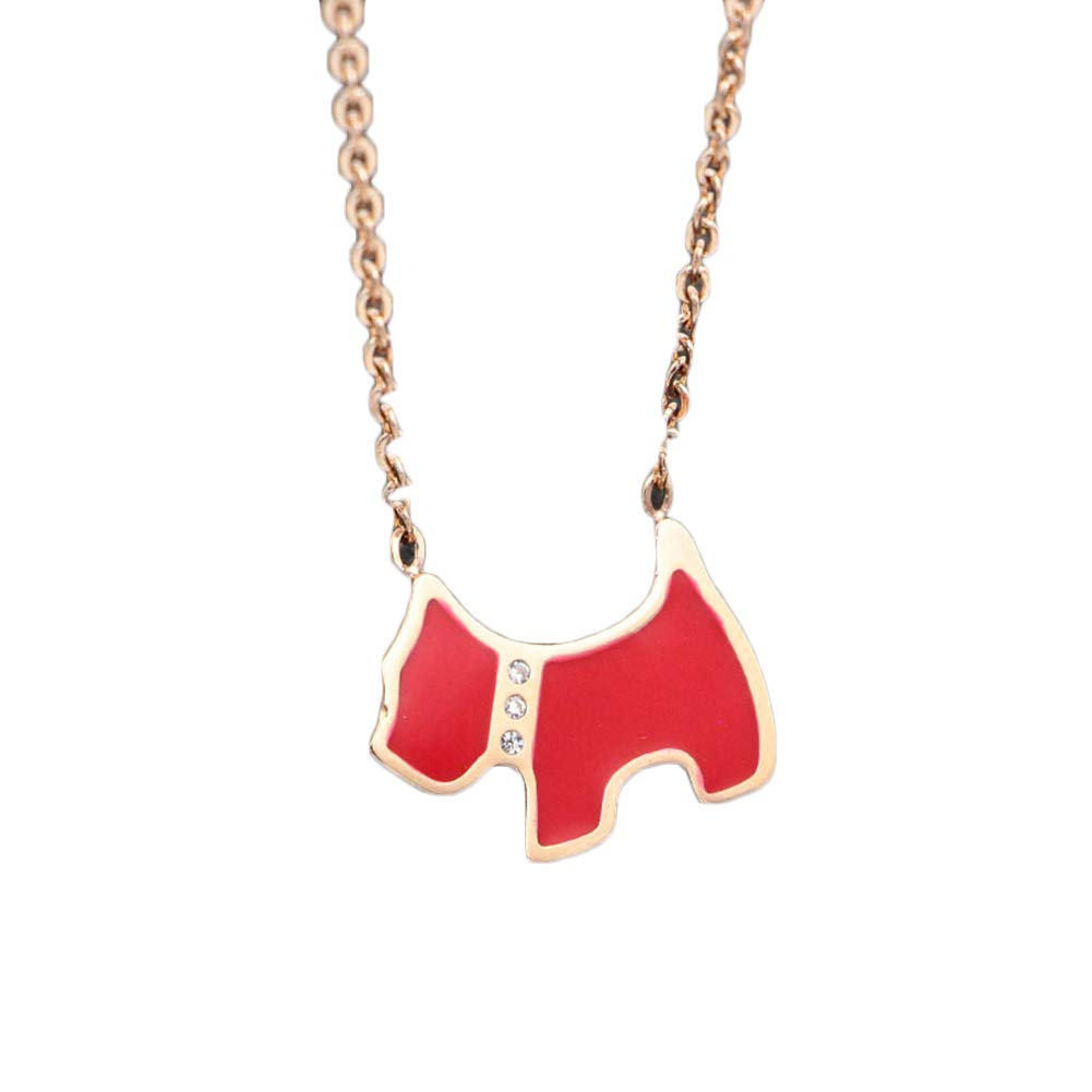 Onlyfo Rose Gold Plated Diamond Accent Dog Pendant Necklace with Jewelry Box,Short Dog Necklace for Women (Red)