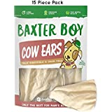 Baxter Boy Prime Tender & Hearty Thick Cow Ears Odor Free Dog Treats, (15 Pack) – Premium Grade Long Lasting All Natural and Unflavored Gourmet Dog Treat Chews – Fresh & Savory Low-Calorie Treat