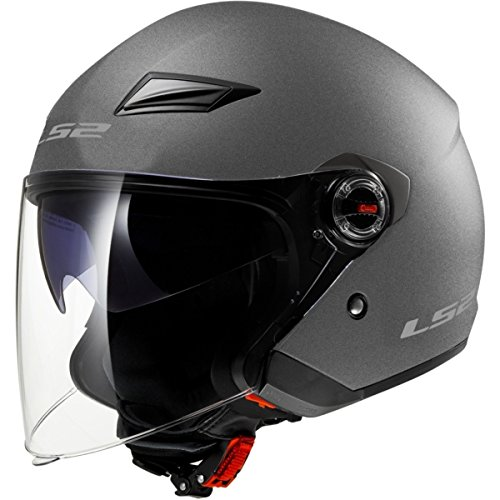 LS2 Helmets 569 Track Solid Open Face Motorcycle Helmet with Sunshield (Gunmetal, X-Large) ()