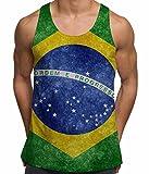Bang Tidy Clothing Sleeveless Brazil Flag South America Rio de Janeiro Ipanema Beach Mens Vest - White - L