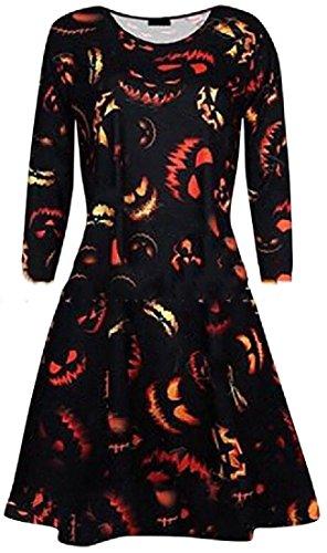Da Halloween Vestito Girocollo Di Coolred Partito Lunga Orlo Manica Pattern6 Womens Vasta 0fBgq