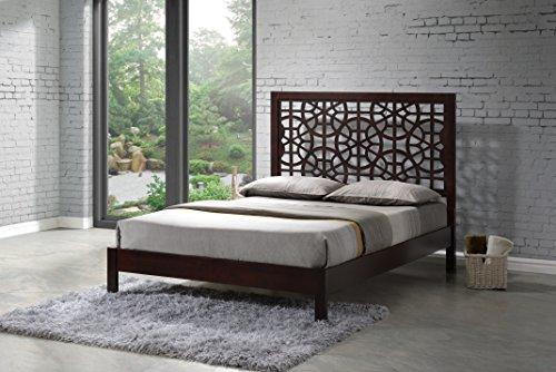 Wholesale Interiors Baxton Studio Sakuro Circle Pattern Wooden Platform Base Bed Frame, King, Dark (Japanese Platform Bed Frame)