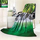 YOYI-HOME Digital Printing Duplex Printed Blanket Trees Thailand Kanjanaburi Waterscape Sunny Day View Accessories Green Ecru Summer Quilt Comforter /W31.5 x H47