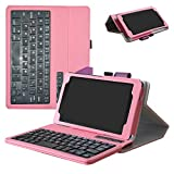 Lenovo Tab 4 7 2017 Bluetooth Keyboard Case,Mama Mouth Slim Stand PU Leather Cover with Romovable Bluetooth Keyboard for 7.0'' Lenovo Tab 7 / Lenovo Tab 4 7 7504F 2017 Android Tablet,Pink
