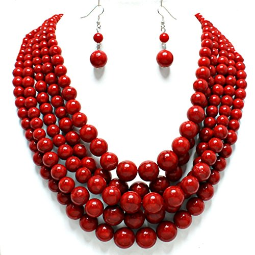 Statement Beaded Layered Strands Red Simulated-Stone Pearl Beads Necklace Earrings Set Gift Bijoux