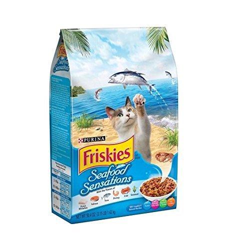 Friskies Dry Cat Food, Seafood Sensations, 3.15 Pound Bag, P