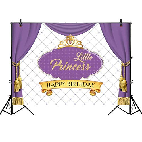 Allenjoy 7x5ft Royal Purple First Princess Backdrop for Gold Crown Curtain Girl's Baby Shower Celebration Party Decor Happy 1st Birthday Decoration Pictures Background Supplies Photo Booth Props -