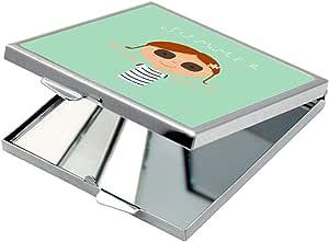 مرآة جيب، بتصميم ابتسم - لون اخضر، شكل مربع