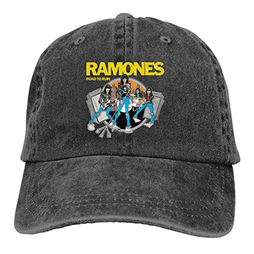 (ThomasSThoms Ramones Men Women Baseball Cap Vintage Cotton Washed Distressed Hats Twill Plain Adjustable Dad-Hat)