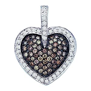 Diamond Pendant 14k White Gold Cognac-brown Colored Heart Cluster 1.00 Cttw(I2/i3, i/j)