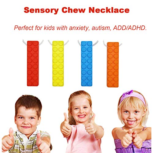 Sensory Chew Necklace Set, (8 Pack) Made from Food Grade Silicone Safety for Kids Teething, Silicone Chewy Sticks for Autistic, ADHD, Oral Motor Boys and Girls Children-Blue,Red,Yellow,Orange by MeBB Chic (Image #4)