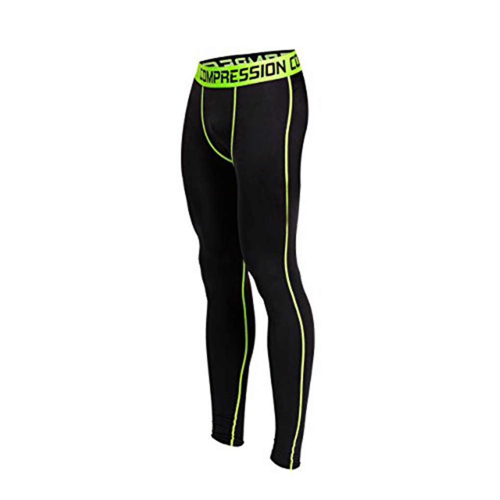 Collants de Compression pour Hommes Training Thermal Base Layer Pants Fitness Gym Running Sport Performance Leggings (Light Green)