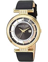 Women's Quartz Stainless Steel and Leather Casual Watch, Color:Black (Model: KC15005008)