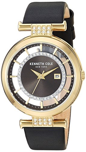 Kenneth Cole New York Women's Quartz Stainless Steel and Leather Casual Watch, Color:Black (Model: KC15005008)