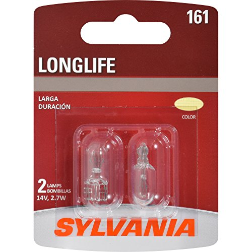 SYLVANIA - 161 Long Life Miniature - Bulb, Ideal for Interior Lighting - Cargo, License Plate and More. (Contains 2 Bulbs)