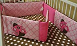 Crib Bumpers for Cribs with Attached Changing Table Lady Bugs pink/chocolate Bumper Pad