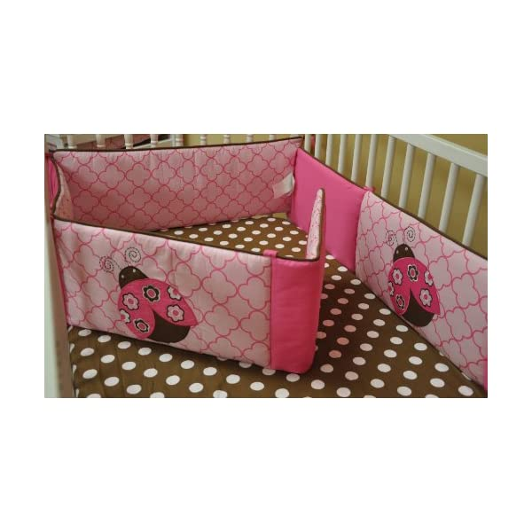 Lady Bugs Pink/Chocolate Bumper Pad