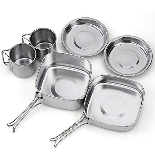 TAFOND Backpacking Camping Cookware Picnic Stainless Steel Cooking Cook Set for Hiking by TAFOND